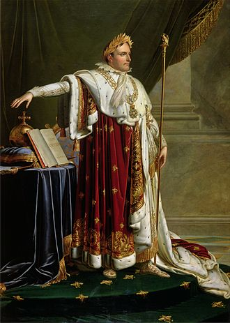 Caesarism - French Emperor Napoleon I, Napoleon admired Julius Caesar and emulated him and ancient Rome. In this picture Napoleon wears a Roman-style golden laurel wreath crown (that was worn at ceremonies by Roman rulers) and holds a scepter with a Roman eagle on it.
