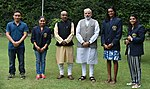 Narendra Modi and Vijay Goel with the Rajiv Gandhi Khel Ratna Awardees of 2016, P.V. Sindhu, Sakshi Malik, Dipa Karmakar and Jitu Rai.jpg