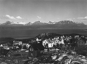 Narvik - Narvik 1928 with the fjord Rombaken as backdrop