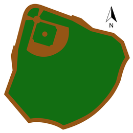 An illustration showing the shape of the field with grassy areas shown in green and dirt in brown