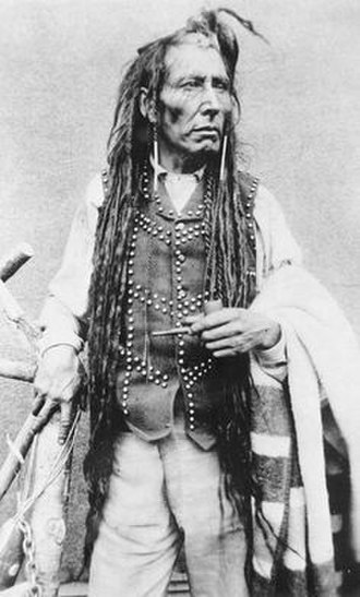 Dreadlocks - Cree chief Pitikwahanapiwiyin with locked hair. 1885.