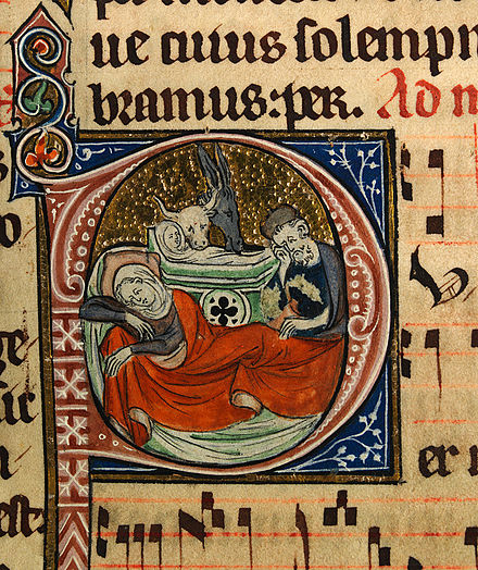 The Nativity depicted in an English liturgical manuscript, c.1310-1320 Nativity 01.jpg