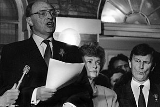 United Kingdom general election, 1992 - Labour Leader Neil Kinnock conceding the 1992 UK general election