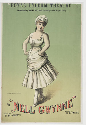 Nell Gwynne (operetta) - Poster from the Royal Lyceum Theatre, Edinburgh, 1888