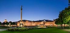 Neues Schloss Schlossplatzspringbrunnen Jubiläumssäule Schlossplatz Stuttgart 2015 01.jpg