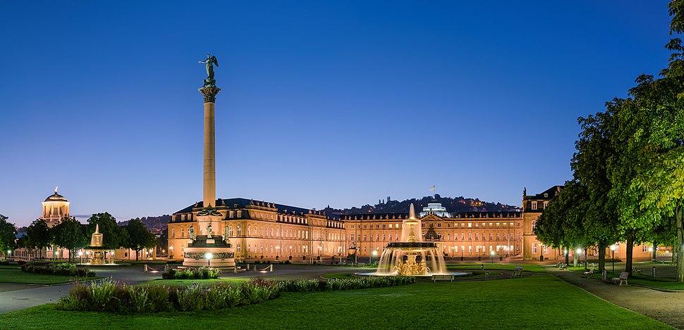 Neues Schloss Schlossplatzspringbrunnen Jubil%C3%A4umss%C3%A4ule Schlossplatz Stuttgart 2015 01