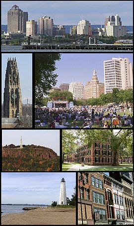 Clockwise from the top are the Downtown skyline, summer festivities on the New Haven Green, Connecticut House at Yale University, commercial buildings downtown, Five Mile Point Lighthouse, East Rock Park, and Harkness Tower.