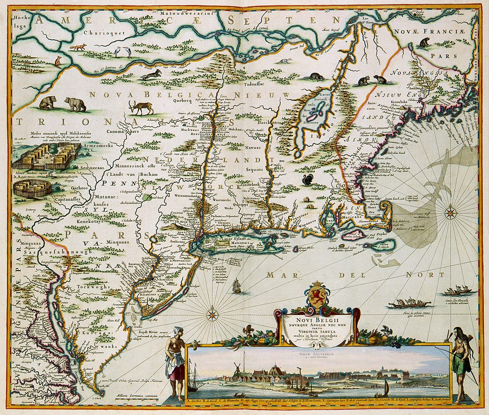 New Netherland map published by Nicolaes Visscher II (1649–1702)