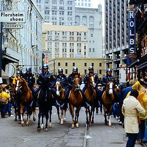 New Orleans Police Department - Mounted police during New Orleans Mardi Gras 1984