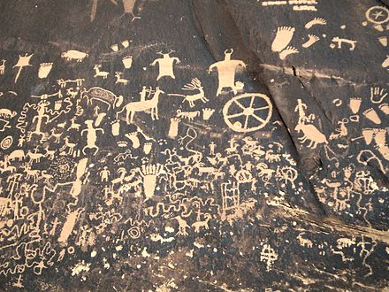 Newspaper Rock State Historic Monument, Utah, contains petroglyphs left by the first inhabitants of the American Southwest. Newspaperrock.jpg