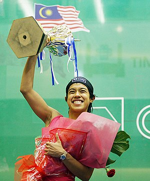 Current World No. 1 of women's squash, Malaysia's Nicol David, is of Chindian descent. Nicol David Khai.jpg