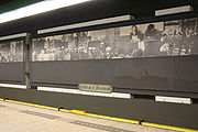 Subway station Nieuwmarkt with historic images of the Nieuwmarktrellen