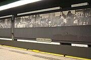 Subway station Nieuwmarkt with historic images of the Nieuwmarktrellen