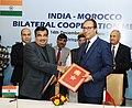 Nitin Gadkari and the Minister of Equipment, Transport, Logistic and Water, Kingdom of Morocco, Dr. Abdelkader Amara exchanging after signing an MoU on Cooperation in the field of Water Resources.jpg
