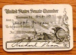 a black printed on yellow Senate gallery pass dated October 1951