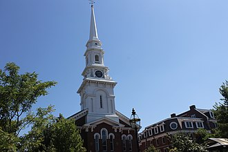 Portsmouth, New Hampshire - Historic North Church, a United Church of Christ congregation in downtown Portsmouth; the steeple is visible throughout the community.