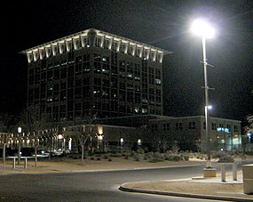 North Las Vegas city hall at night, February 2013.jpg