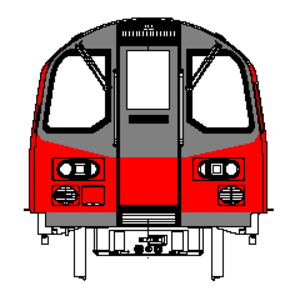 London Underground 1995 Stock - Diagram of the front of a 1995 stock train