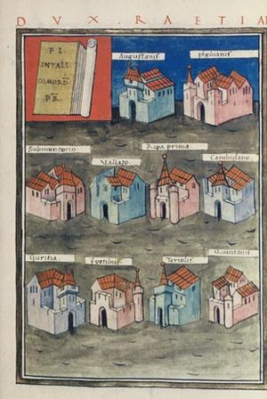Danube–Iller–Rhine Limes - Notitia Dignitatum: the forts under the command of the Dux Raetiae