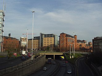 Leeds Inner Ring Road - Passing under the Nuffield Hospital.