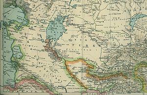 Transcaspian Oblast - Transcaspian Oblast (Obwod Zakaspijski, in Polish) on a 1903 Polish map