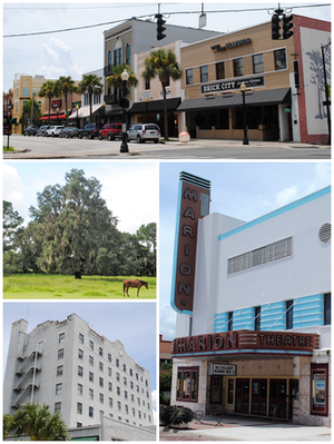 Top, left to right: Downtown Ocala, horse on a farm, Marion Hotel, Marion Theatre