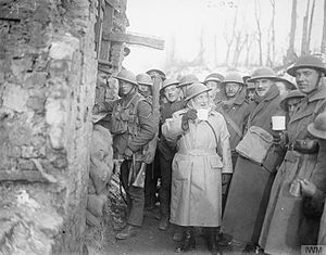 Ben Tillett - Tillett with British troops on the western front, January 1918