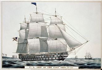 USS Ohio (1820) - Image: Ohio ship of the line Currier Ives