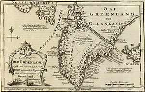Danish colonization of the Americas - A 1747 map based on Egede's descriptions, including many geographical errors common to the time.
