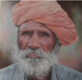 Old Hindu, pastel portrait by Robert Perez Palou.png