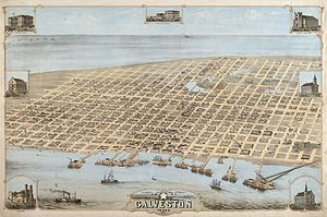 History of Galveston, Texas - Map of Galveston in 1871