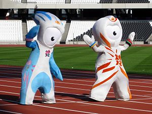 Wenlock and Mandeville - Mandeville (left) and Wenlock (right) inside the Olympic Stadium