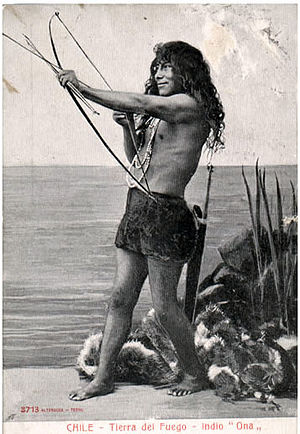Tierra del Fuego Province, Argentina - A member of the Selknam people, 1904. The Selk'nam, or Ona, who traditionally placed great value on amiability, were the island's most numerous native people until their numbers were reduced by disease and genocide in the 19th and 20th centuries.