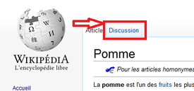 Positionnement de l'onglet de discussion.