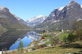 Oppstryn Village in Western Norway, Norway