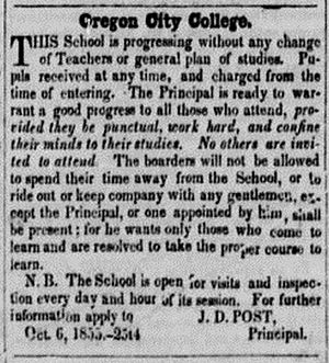 Oregon City College - College advertisement in the Oregon Argus