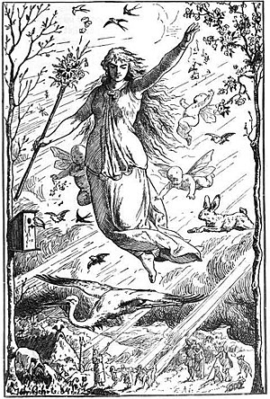 Ēostre - Ostara (1884) by Johannes Gehrts. The goddess flies through the heavens surrounded by Roman-inspired putti, beams of light, and animals. Germanic people look up at the goddess from the realm below.