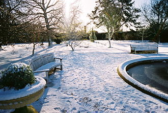 University of Oxford Botanic Garden - The gardens under snow.