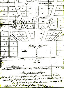 A hand-drawn map depicting the original plan for the Town of Oxford