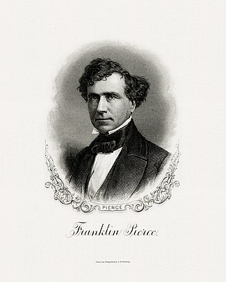 BEP-engraved portrait of Pierce as president