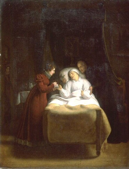The Duchess of Angouleme at the death bed of Henry Essex Edgeworth, last confessor to Louis XVI, by Alexandre-Toussaint Menjaud, 1817. Painting, The Death of the Last Confessor of Louis XVI, Menjaud.jpg