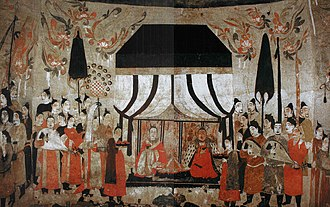 Music of China - A mural from the tomb of Xu Xianxiu in Taiyuan, Shanxi province, dated 571 AD during the Northern Qi Dynasty, showing male court musicians playing stringed instruments, either the liuqin or pipa, and a woman playing a konghou (harp)