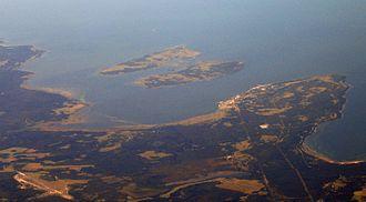 Pakri Islands - An aerial photo of the Pakri Islands and the Pakri Peninsula.