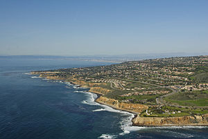 Palos Verdes Peninsula - The edge of the Palos Verdes Peninsula extending down to the Pacific Ocean.