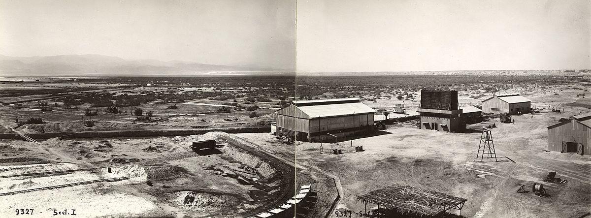 תמונת פנורמה של מפעל המלח בסדום וסביבתו בשנת 1937