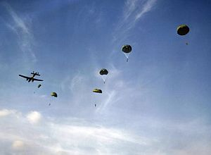No. 295 Squadron RAF - Paratroopers dropping out of a 295 Sqn Whitley, October 1942.