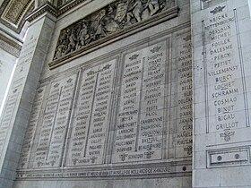 Paris Arc de Triomphe inscriptions 2