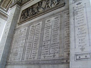 Names inscribed under the Arc de Triomphe - Image: Paris Arc de Triomphe inscriptions 2