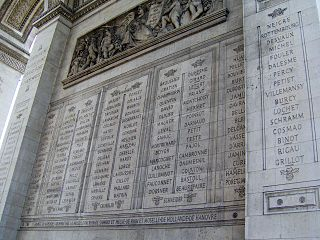 Names inscribed under the Arc de Triomphe Wikimedia list article