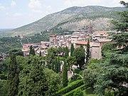 A landscape in Lazio: part of Tivoli, near Rome, seen from the upper terraces of the Villa d'Este.